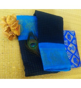 Delightful Cotton Narayanpet Handloom Saree Sky Blue & Navy Blue Combination for Women