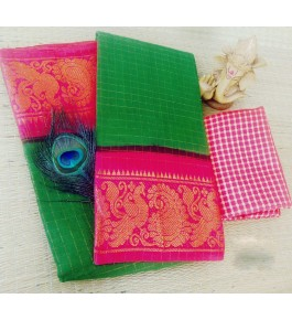 Traditional Cotton Narayanpet Handloom Saree Green & Pink Combination for Women