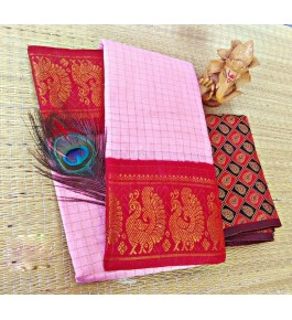 Beautiful Cotton Narayanpet Handloom Saree Baby Pink & Red Combination for Women