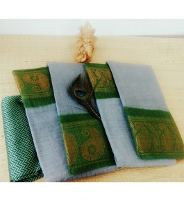Simply Cotton Narayanpet Handloom Saree Baby Grey & Green Combination for Women