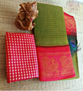 Simply Cotton Narayanpet Handloom Saree Olive Green & Pink Combination for Women