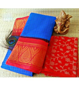 Marvellous Cotton Narayanpet Handloom Saree Blue & Red Combination for Women