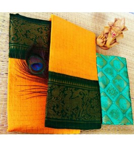 Cotton Narayanpet Handloom Sarees in Bright Yellow with Dark Green Combination for Women