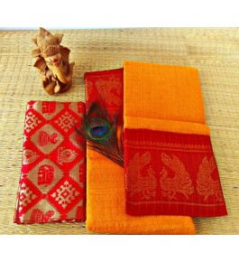 Cotton Narayanpet Handloom Sarees in Bright Yellow with Orange Combination for Women