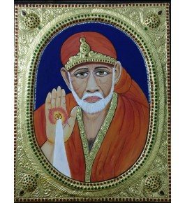 Traditional Thanjavur Painting of the Eternal God Shirdi Sai Baba in Vibrant Colours