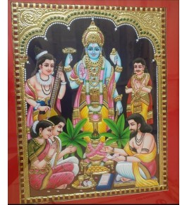 Iconic Composition of Traditional Thanjavur Painting of God Satyanarayan Swami