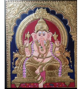 Golden Traditional Thanjavur Painting of Lord Ganesha with Grand Corner Designs