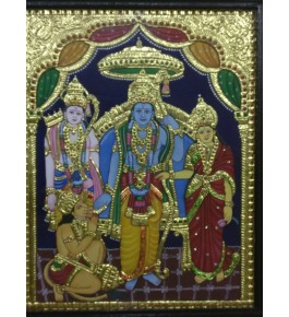 Traditional Thanjavur Painting of Lord Ram, Lakshman & Sita with Lord Hanuman