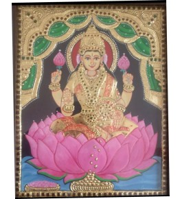 Traditional Thanjavur Painting of Goddess Lakshmi Seated on Lotus