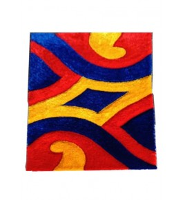 Colourful Pattern on Handmade Carpet of Bhadohi 3/5 Feet for Home Decor