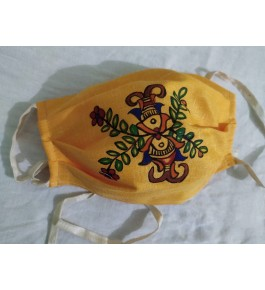 Anti Pollution Dust and Virus Protection Madhubani Painting Reusable Cotton Half Face Ear Loop Mask in Yellow Color (Set of-4)