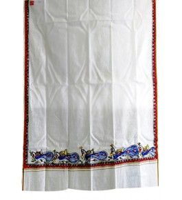 Men's Ethnic and Traditional Madhubani Hand Painted Beautiful Peacock Border Cotton Gamcha