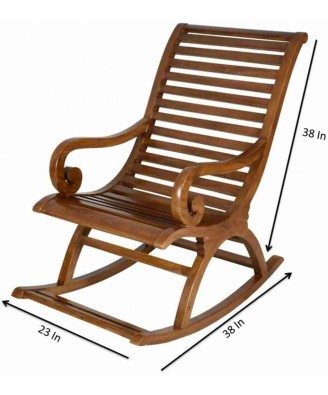Handcrafted Saharanpur Wood Craft Rocking Chair