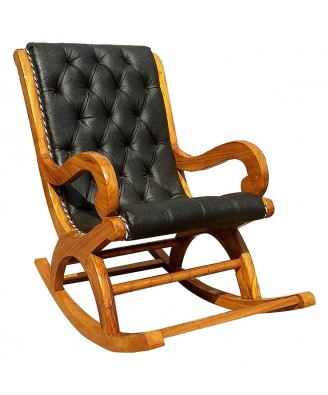 Handmade Solid Rocking Chair Saharanpur Wood Craft with Black Leather seat