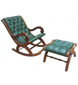 Antique Rocking Chair Saharanpur Wood Craft with Footrest