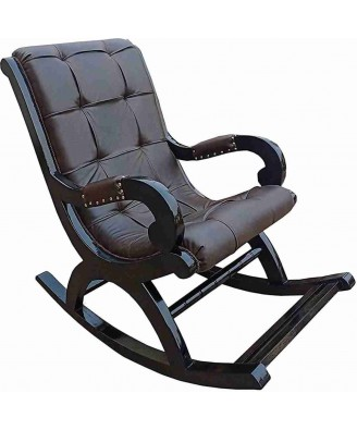 Handcrafted Saharanpur Wood Craft Rocking Chair with Leather Chair
