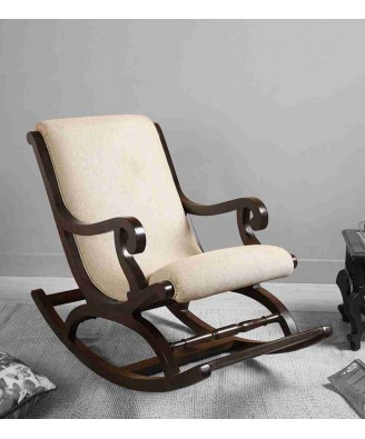 Handcrafted Saharanpur Wood Craft Rocking Chair with Leather Chair- Cream Color