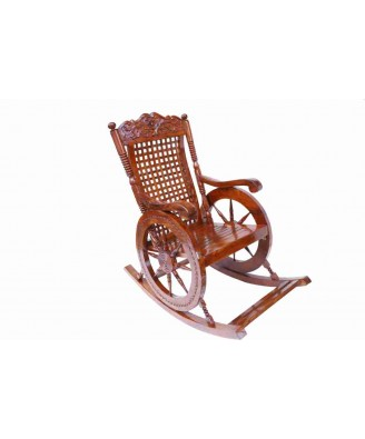Royal Look Rocking Chair Saharanpur Wood Craft with Wheel Design