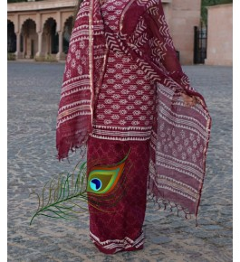 Traditional Handicraft Kota Doria Hand Block Print Cotton Mehroon Colour Dress Material For Women