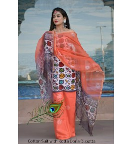 Traditional Handicraft Kota Doria Hand Block Print Cotton Orange & White Colour Dress Material For Women