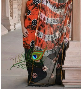 Traditional Handicraft Kota Doria Hand Block Print Cotton Orange & Black  Colour Dress Material For Women