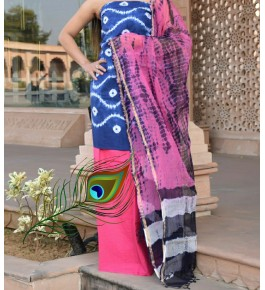 Traditional Handicraft Kota Doria Hand Block Print Cotton Pink & Blue Colour Dress Material For Women