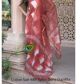 Traditional Handicraft Kota Doria Hand Block Print Cotton Brown, Red & White Colour Dress Material For Women
