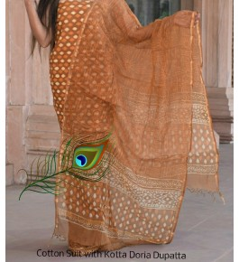 Traditional Handicraft Kota Doria Hand Block Print Brown & Orange Colour Flower Design Dress Material For Women
