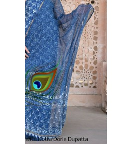 Prettify Handicraft Kota Doria Hand Block Print Blue Colour Flower Design Dress Material For Women