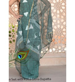Prettify Handicraft Kota Doria Hand Block Print Dark Green Colour Flower Design Dress Material For Women