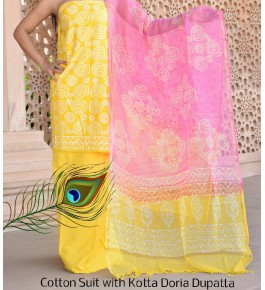 Prettify Handicraft Kota Doria Hand Block Print Yellow Colour Flower Design Dress Material For Women