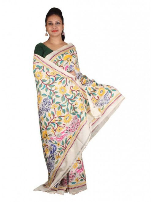 Alluring Red Ground Worked Nakshi Kantha Pure Silk Multicolour Floral Design Saree From West Bengal for Women