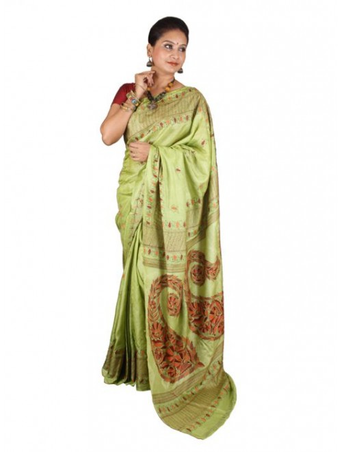 Alluring Red Ground Worked Nakshi Kantha Pure Silk Grassy Green Colour Saree From West Bengal for Women