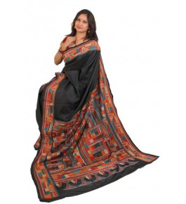 Alluring Red Ground Worked Nakshi Kantha Pure Silk Black Colour Saree From West Bengal for Women