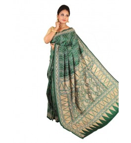 Alluring Red Ground Worked Nakshi Kantha Pure Silk Sea Green Colour Saree From West Bengal for Women