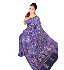 Alluring Red Ground Worked Nakshi Kantha Pure Silk Purple Colour Saree From West Bengal for Women
