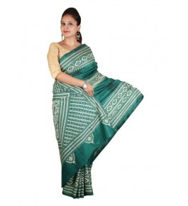 Alluring Red Ground Worked Nakshi Kantha Pure Silk Green Colour Saree From West Bengal for Women
