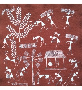 Natural Handicraft Queen of the Forest Theme Warli Painting For Decoration Purpose