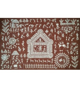 Beautiful Natural Handicraft The Lagna Chauk Theme Warli Painting For Decoration Purpose