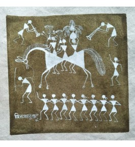 Latest Natural Handicraft Barat Theme Warli Painting For Decoration Purpose