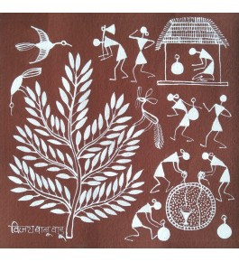 Natural Handicraft Daily of Life Theme Warli Painting For Decoration Purpose