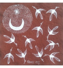 Natural Handicraft Savar Bard's Theme Warli Painting For Decoration Purpose