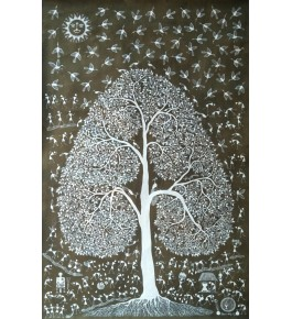 Beautiful Natural Handicraft The Mahuva Tree Theme Warli Painting For Decoration Purpose