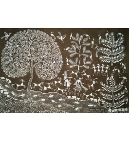 Beautiful Natural Handicraft Radha Krishna Theme Warli Painting For Decoration Purpose