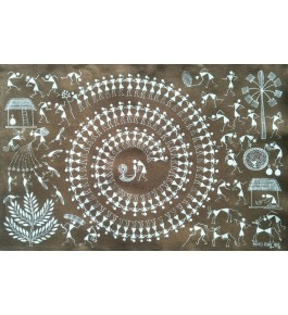 Beautiful Natural Handicraft Tarpa Dance Theme Warli Painting For Decoration Purpose