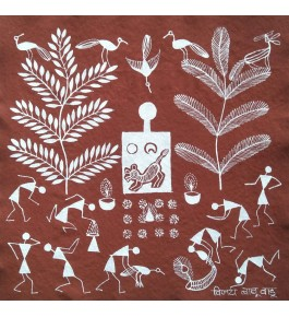 Beautiful Natural Handicraft Tiger god pooja Theme Warli Painting For Decoration Purpose
