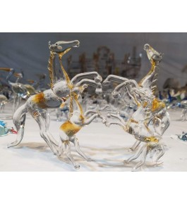 Elegant Handicraft Firozabad Glasswork Craft Beautiful Design Of Horse Family