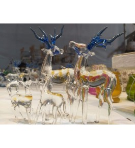 Elegant Handicraft Firozabad Glasswork Craft Beautiful Design Of Deer Family