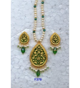 Authentic Traditional Handicraft Thewa Art Gold Work Jewellery Of Floral Design In Green Colour