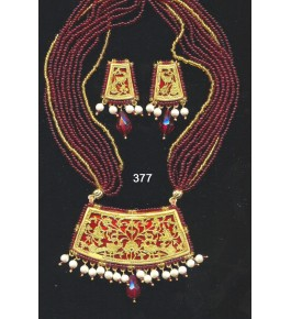 Authentic Traditional Handicraft Thewa Art Gold Work Jewellery Of Peacock Design In Red Colour